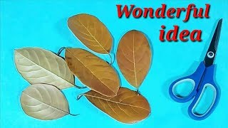 Wonderful Jackfruit Leaves flowers making idea/Rose leaves craft