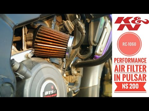 K&n air filter installed in Pulser NS 200 ||Without removing original filter box ☝️☝️