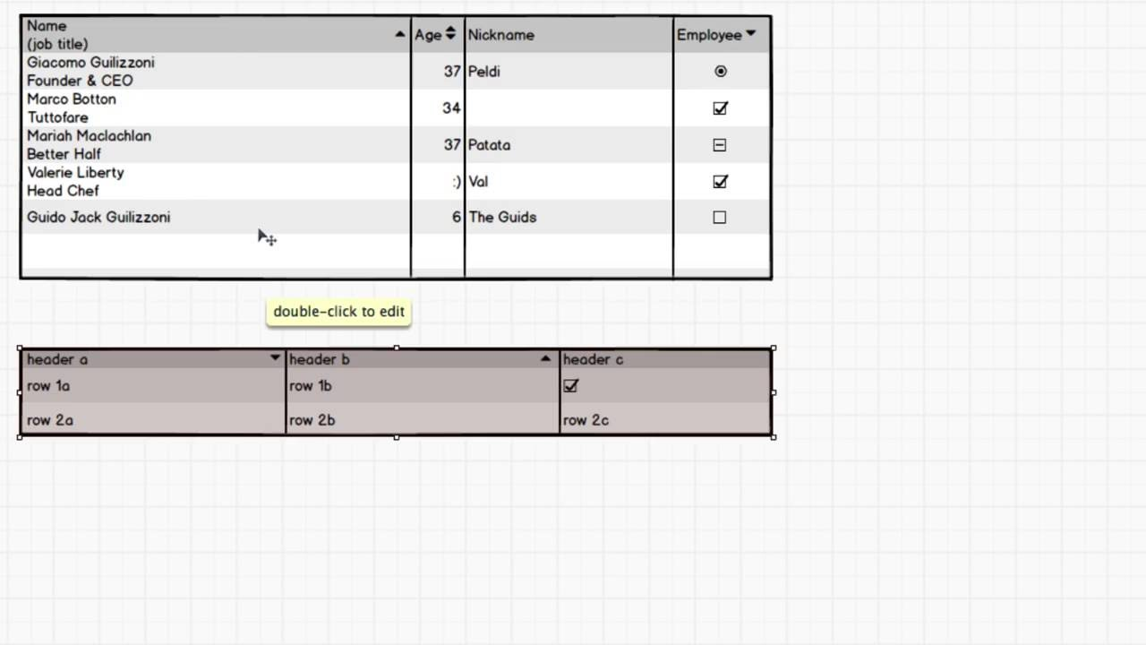 Working with Data Grids / Tables - Balsamiq for Desktop