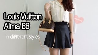 Louis Vuitton Alma Bb Review Lookbook Modelling Shots What It Looks Like In Different Styles Youtube