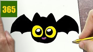 HOW TO DRAW A HALLOWEEN BAT CUTE, Easy step by step drawing lessons for kids