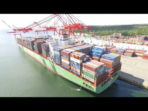 DJI Phantom 3 Aerial Video - CSCL AFRICA Docked at Halterm - Port of Halifax (Aug 8, 2016)