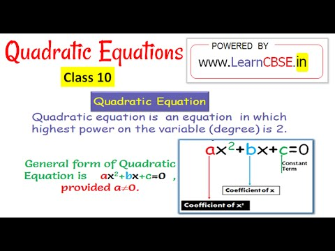 Define Quadratic Equation Write Quadratic Equation In Standard