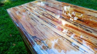 Super High Gloss Table from Tree Limb Repurposing Reclaiming  Woodworking UV CURE RESIN