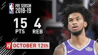 Marvin Bagley III Full Highlights Kings vs Blazers - 2018.10.12 - 15 Pts, 4 Rebounds!