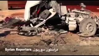 Сирия.Видео разбомбленной колонны самолетами ВКС в Алеппо