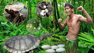 PRIMITIVE LIFE TOP #1 (SURVIVAL SKILLS )EATING DELICIOUS FOOD IN JUNGLE -COOKING SNAKE TURTLE EGGS