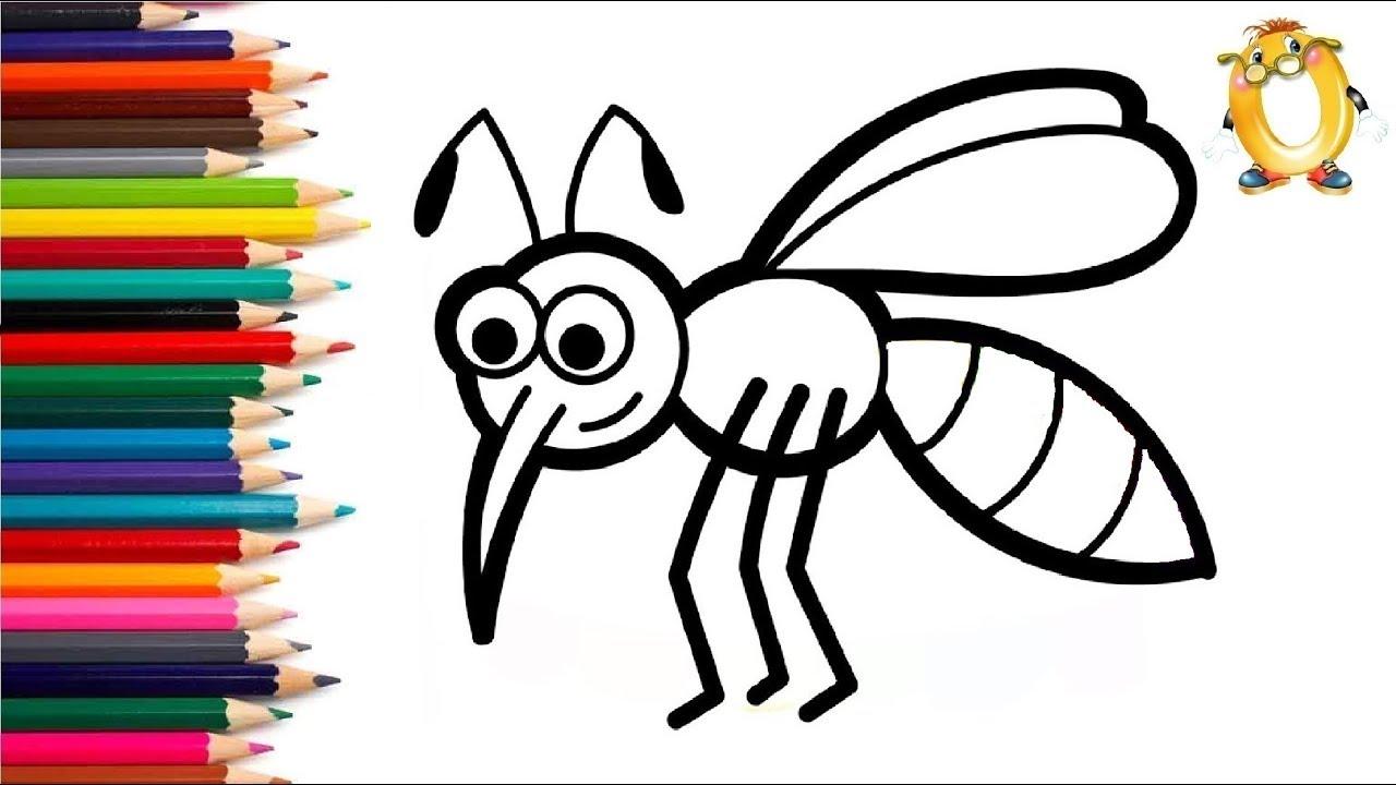 Раскраска для детей КОМАР. Мультик - Раскраска. Учим цвета ...