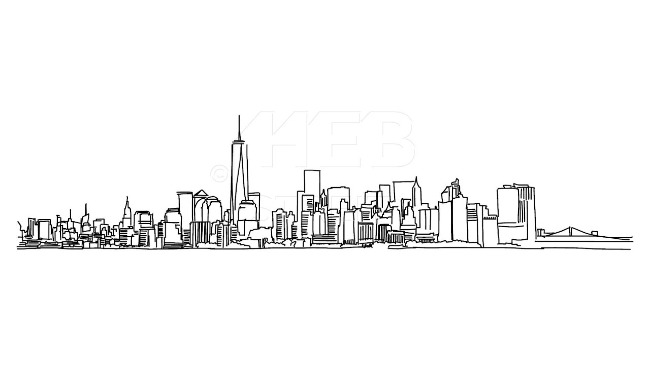 New York Panorama Outline Animation Hand Drawn Sketch Build Up - YouTube for Animated House Outline  166kxo