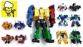 Transformer stop motion collection with optimus prime Ultra Bee bumblebee robots in disguise
