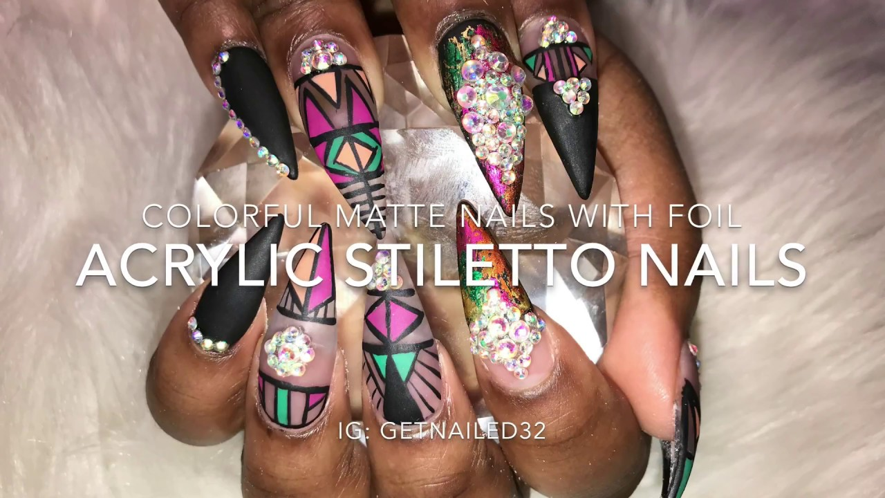Acrylic Nails For Beginners Stiletto Black Matte Nails With