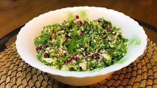 Салат из красной фасоли с творожным сыром, красным луком и сезонным салатом