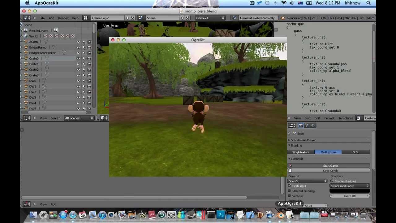 blender 3D 2 6 Gamekit addon install and test