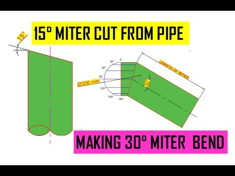 How to cut a 15 degree angle on pipe | 30° Miter bend from pipe