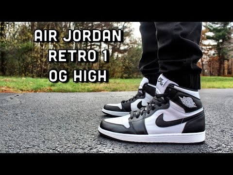 newest b13cc 24bf4 Air Jordan Retro 1 OG High Black/White ON FEET - YouTube