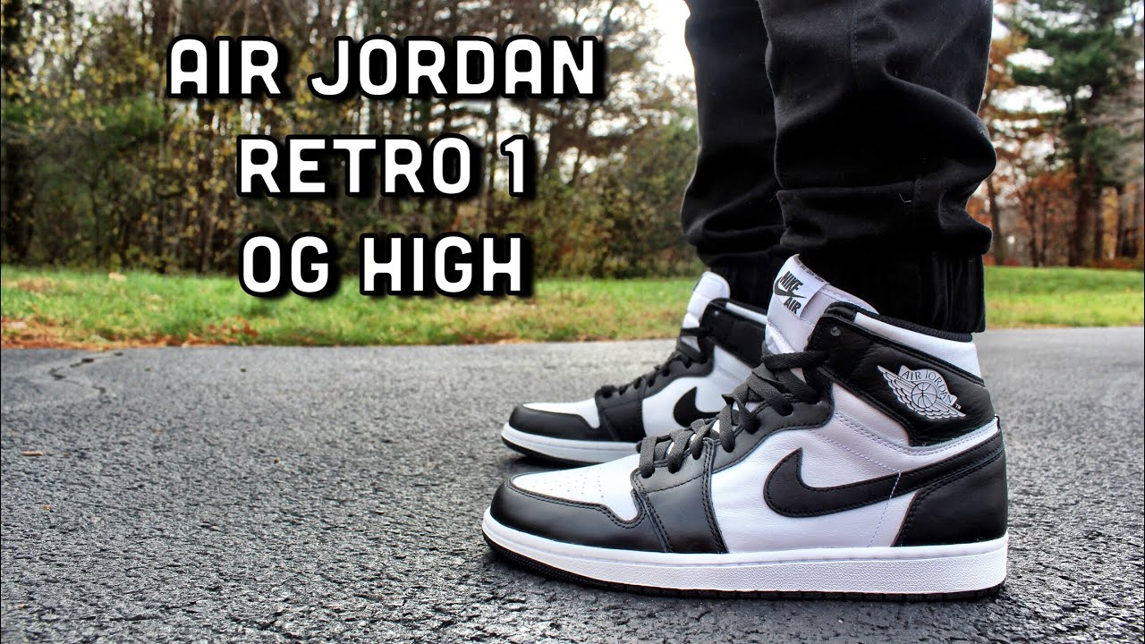 separation shoes b20a5 a82c4 Air Jordan Retro 1 OG High Black/White ON FEET