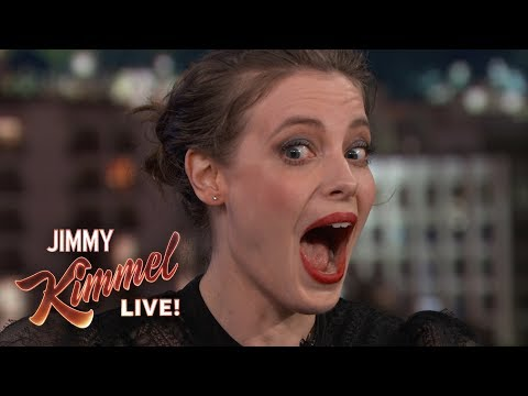 Terrified Gillian Jacobs Gets Her Ears Pierced on Kimmel