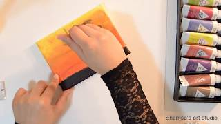Learn how to draw Sunset and tree Silhouette painting in 6 minutes:  تعلم رسم منظر الغروب