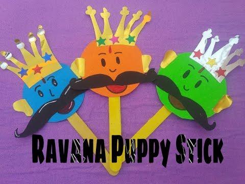 Beautiful | Ravana puppy stick for kids | How to make Ravana puppy stick for play school ||