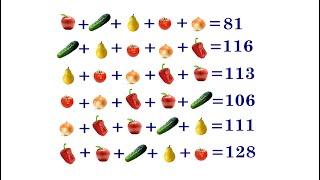 Что почём? ★ Найдите стоимость каждого овоща и фрукта ★ Самый быстрый способ решения