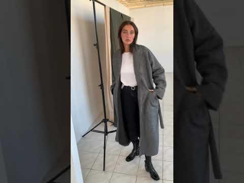 Шерстяное пальто кимоно на запах серого цвета 100035SR-S