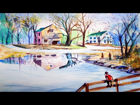Scenery Drawing with Watercolor | Watercolor Painting landscape  ✔