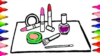How to draw and Color| Coloring pages make up and cosmetics for kids Learning Colored Markers