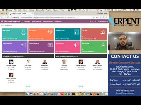 Odoo Hr Dashboard For Service Industry  Youtube
