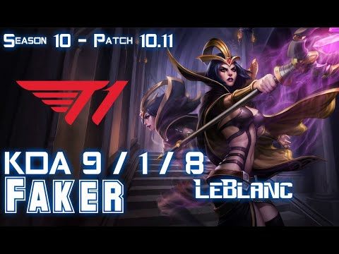 T1 Faker LEBLANC Vs SYLAS Mid - Patch 10.11 KR Ranked