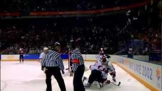 Steve Yzerman celebration with Jarome Iginla  2002 Winer Olympics Team Canada