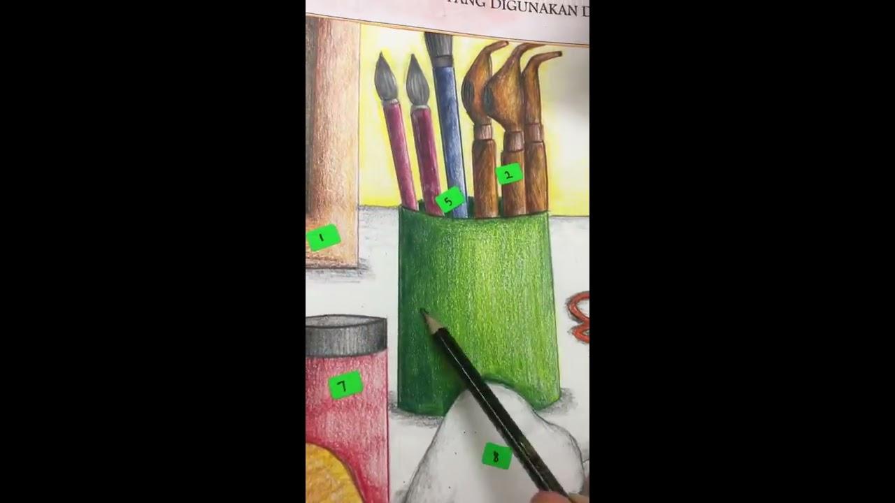 Cara Mudah Melukis Lukisan Alat Dan Bahan Folio Spm By Cikgu Norazian Rona Youtube