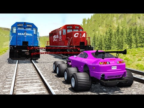 Beamng drive - Chained Trains vs. Cars #1