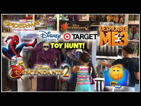 MOVIE TOY HUNT! DISNEY STORE & TARGET! DESCENDANTS 2! DESPICABLE ME 3! SPIDERMAN! THE EMOJI MOVIE!