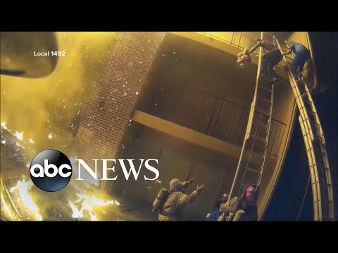 See Firefighters Catch Children thrown from Burning Building!
