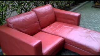 Leren Chaise Lounge 2 Zits Bank Rood Ikea Karlstad, Loungebank