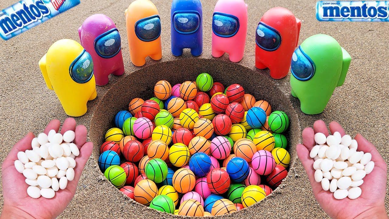 bouncy ball vs Coca Cola Light, Fanta, Pepsi, Sprite, Mirinda,Soda and Mentos Underground | Among Us