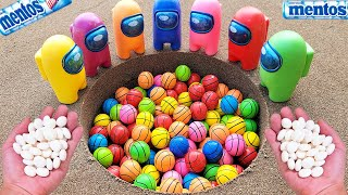 bouncy ball vs Coca Cola Light, Fanta, Pepsi, Sprite, Mirinda,Soda and Mentos Underground   Among Us