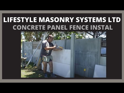 Concrete Fence Install - LMS50 www.lifestylemasonry.co.nz