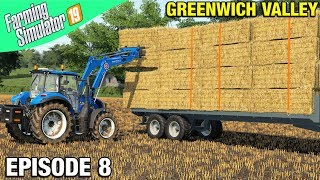 STACKING STRAW ON TRAILERS Farming Simulator 19 Timelapse - Greenwich Valley FS19 Ep 8