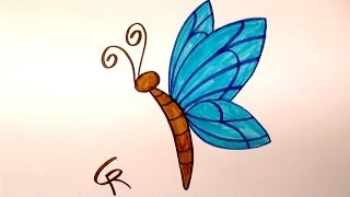 Learn How to Draw An Easy Cartoon Butterfly -- iCanHazDraw!