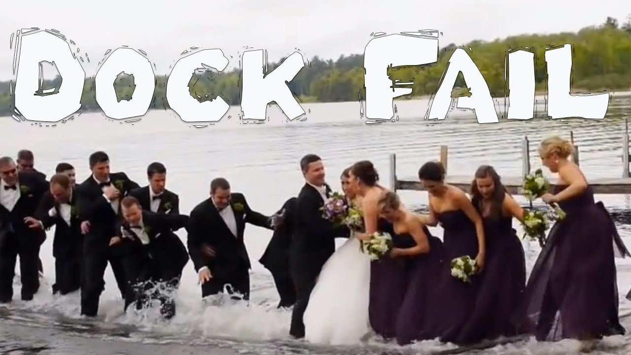 entire wedding party goes into water after dock breaks
