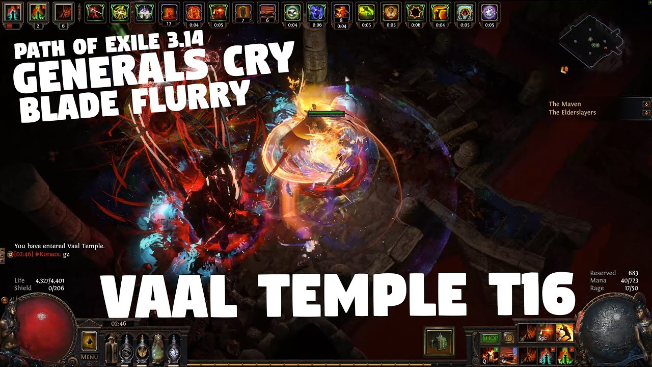 Path of Exile 3.14 - VAAL TEMPLE T16 - Generals Cry Blade Flurry