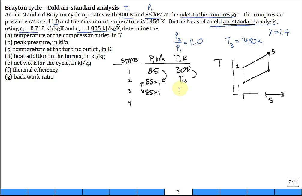 Calc Brayton Cycle Cold Air Youtube
