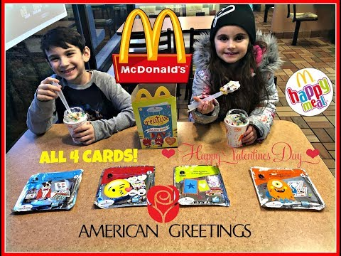 MCDONALDS American Greetings! Valentines Day Cards! ❤️ALL 4! Feb 2018!