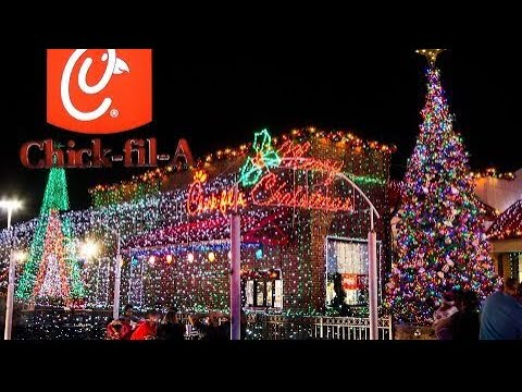 Great Chick Fil A Tampa Waters Av Florida Christmas 🎄 Lights Show Great Pictures