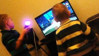 PS3 kids playing boxing games ... with funny accident