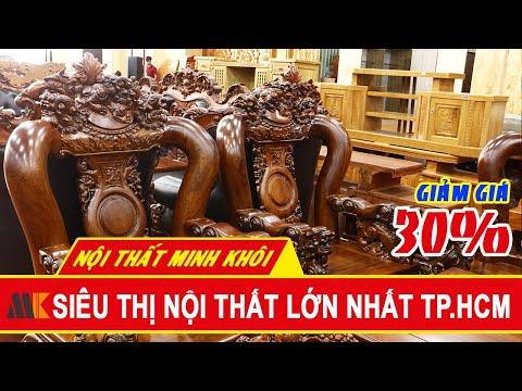 Bộ Salon gỗ cẩm lai siêu phẩm, Tay 14, 10 món - Giảm 30% - Nội Thất Minh Khôi