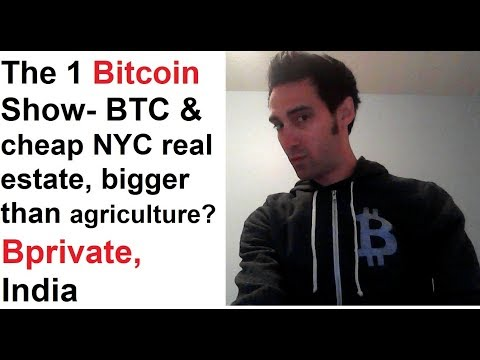 The 1 Bitcoin Show- BTC & cheap NYC real estate, bigger than agriculture? Bprivate