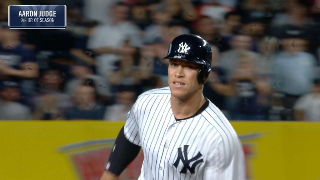 WATCH: Yankees' Aaron Judge hits homer No. 17 with Memorial Day blast