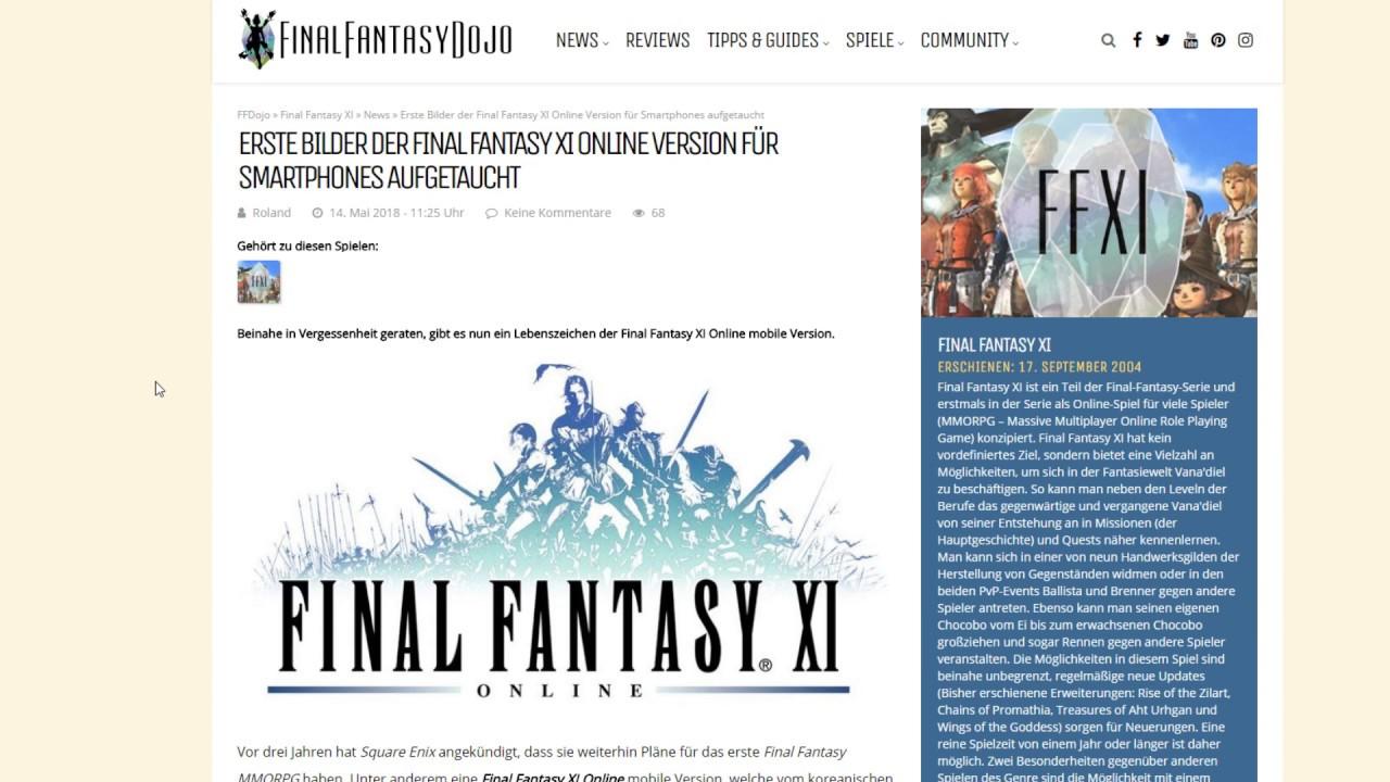 Erste Bilder der Final Fantasy XI Online Version für Smartphones aufgetaucht